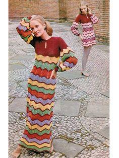 Items similar to Crochet Dress Pattern Vintage PDF 095 BoHo ZigZag Maxi Dress from WonkyZebra on Etsy Zig Zag Crochet, Débardeurs Au Crochet, Boho Crochet Patterns, Vintage Crochet Dresses, Vintage Dress Patterns, Bohemian Mode, Mini Vestidos, Estilo Boho, Vintage Knitting