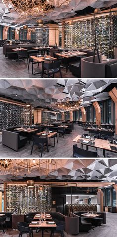 This modern restaurant has large glass walls located behind the dining booths that show off the wine selection available for guests. Plafond Hexagonally Shaped Ceiling Coffers Help Dampen Sound In This Restaurant Design Bar Restaurant, Deco Restaurant, Coffee Shop Design, Cafe Design, Design Design, Commercial Design, Commercial Interiors, Restaurant Interior Design, Design Hotel