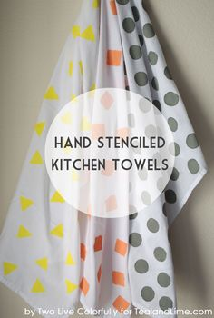 So Fun!  Make your own Simple Hand Stenciled Kitchen Towels