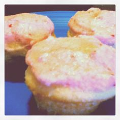 Vanilla cupcakes with homeade strawberry frosting... delicious!