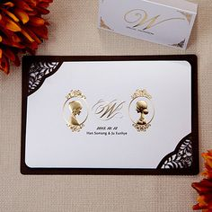 These Gold Cameo Luxury Wedding Invites Understated And Regal Invitation Ideas Pinterest Cards