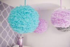 purple, turquoise and gray nursery | purple gray & blue pom poms