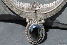 Vintage Signed Navajo Style Sterling Silver Hematite Necklace -New Old Store Stock. $109.99, via Etsy.