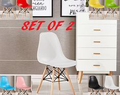 Set Of 2 EAMES DSW Style Chair design / chaise DSW design scandinave Dining Chair or Office Chair