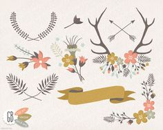 Folk flower wreaths, clip art, heart, vector, laurels, borders