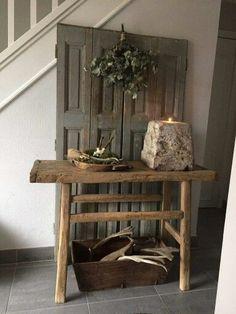 Hal Rustic Chic, Modern Rustic, Rustic Decor, Porch Decorating, Interior Decorating, Interior Design, Wabi Sabi, Primitive Tables, Barn Wood Crafts