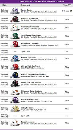 Kansas State Wildcats 2012 Football Schedule