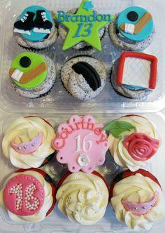 13th Hockey Birthday & Sweet 16 Cupcakes