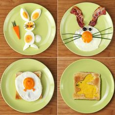 If you are still looking for an idea for the Easter breakfast: you have it . If you are still looking for an idea for the Easter breakfast: you have just found it! Here are 4 charming id Breakfast Plate, Breakfast For Kids, Funny Breakfast, Easter Recipes, Baby Food Recipes, Toddler Meals, Kids Meals, Cute Food, Yummy Food