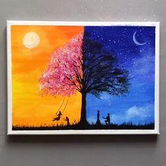 Easy Canvas Art, Simple Canvas Paintings, Small Canvas Art, Beautiful Paintings, Multiple Canvas Paintings, Multi Canvas Painting, Pastel Paintings, Easy Paintings, Acrylic Art