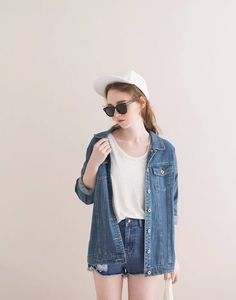 denim jacker and shorts. #doubledenim
