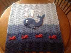 Adorable Crochet Baby Blanket - Blue Whale in the Ocean Waves with Fish - Ripple Design