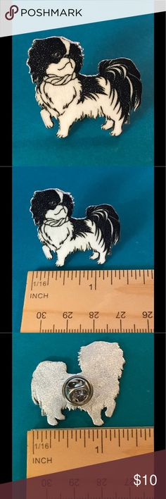 Black and White Dog Brooch or Lapel Pin Black and White Dog Brooch or Lapel Pin--happily handcrafted in shrink plastic by me! Handmade Jewelry Brooches