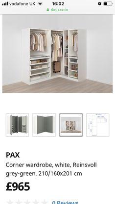 Pax Corner Wardrobe, Organising, Wardrobes, Green And Grey, Organization, Room, Furniture, Walk In Wardrobe Design, Bedroom