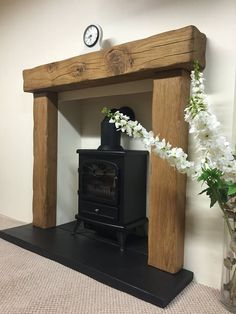 "solid rustic oak beam fire surround with 54"" mantle - various mantles to choose in Home, Furniture & DIY, Fireplaces & Accessories, Mantelpieces & Surrounds 