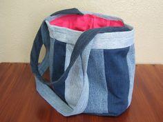Handmade Denim Summer Bag  Blues & Hot Pink by MilenaNyxxx on Etsy, £29.50
