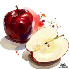 Great illustration style for apples. Easy 3d Drawing, Food Drawing, Watercolor Fruit, Watercolor Paintings, Watercolour, Vegetable Illustration, Indian Art Paintings, Tea Packaging, Creative Pictures