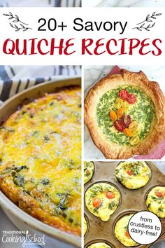 Step up your brunch game with elegant yet easy quiche! From crustless to traditional, here are 20+ quiche recipes packed with colorful vegetables, savory cheeses, and flavorful breakfast meats like bacon, sausage, or ham. Better yet, we have grain-free, gluten-free, dairy-free, Paleo, Keto, Low Carb, Whole30, and GAPS options! #healthy #quiche #recipes #crustless #spinach Primal Blueprint Recipes, Primal Recipes, Whole Food Recipes, Dinner Recipes, Cooking Recipes, Whole30 Recipes, Easy Cheese Quiche Recipe, Easy Quiche, Quiche Recipes