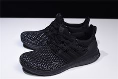 adidas is continuing their recent innovation on the flagship Ultra Boost silhouette with a brand-new Carbon colorway of the Clima LTD, a shoe that fuses the best elements of the classic ClimaCool sneaker with the now-iconic Ultra Boost, and aims to provide maximum performance, comfort, and ventilation. This adidas Ultra Boost features a full Black Primeknit upper with White detailing around the toe for a nice added touch. A matching Black heel counter, Boost midsole and rubber outsole… Black Heels, All Black Sneakers, New Adidas Ultra Boost, Triple Black, Adidas Men, Brand New, Counter, Innovation, Toe
