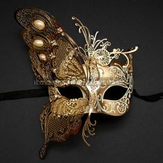 Beautiful Laser Cut Gold Butterfly Wing Mask with White Pearl For... (160 BRL) ❤ liked on Polyvore featuring accessories and masks