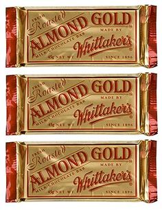 Whittakers Chocolate Bar Almond Gold Slab - 3 x Chocolate Pack, Like Chocolate, Chocolate Lovers, Kiwiana, Protein Bars, Confectionery, New Zealand, Sweet Tooth, My Favorite Things