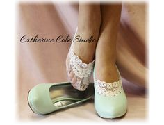 Lace socks for heels white  lace great for bridal wedding shoes lace slippers footlets lace peeping out  bridesmaids FTL4 Catherine Cole