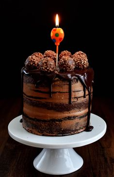 Happy Anniversary Pepper Delight…!!! And here's to all my Chocolate lovers out there… Chocolate Cake with a Chocolate Hazelnut frosting in a semi naked style, topped with crunchy Ferrero Rocher and a dark chocolate ganache dripping around the edges …!!