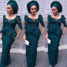 forest-green-dress-with-matching-gele