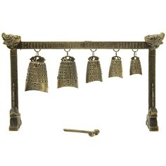 This is a wonderful meditation gong features five bells suspended from a bar flanked by two dragon heads. The gong comes complete with a mallet and makes a perfect collectors piece for any home.