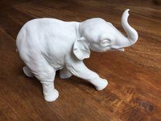 Kaiser Porcelain Elephant Figurine, Elephant Figurine, Porcelain Elephant, Kaiser Figurine, Bisque Elephant, White Elephant by VintageAveBoutique on Etsy