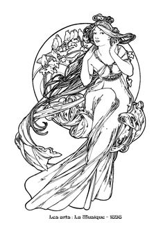 Alfons mucha& art nouveau works a selection of 130 mucha& Art Nouveau Mucha, Alphonse Mucha Art, Art Nouveau Tattoo, Art Nouveau Illustration, Free Coloring Pages, Coloring Book, Art Images, Line Art, Art Drawings