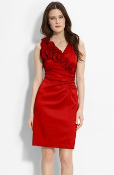 For the Discovery Gala Donna Ricco Ruffle Trim Charmeuse Sheath Dress available at #Nordstrom