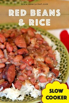 This slow cooker red beans and rice recipe brings you creamy, New Orleans style beans the easy way! Slow Cooker Recipes, Crockpot Recipes, Cooking Recipes, Cajun Recipes, Bean Recipes, Red Bean And Rice Recipe, Slow Cooker Red Beans, One Pot Dinners, Chicken Pasta Recipes