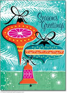 Mid Century Ornaments Christmas Cards  Mid Century Ornaments Christmas Cards feature classic 1960s style illustration on this ultra cool retro Christmas card. Paying homage to the commercial art of the 1950s and 1960s era this vintage Christmas card is destined to be a collectible. Greetings! and Best Wishes for a Happy Holiday in vintage script.  8 cards & envelopes $12.00 | Folded Card Size 4.5″x 6.25″  $12.00