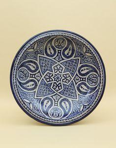 Small Blue Moroccan Fes Design Fruit Bowl