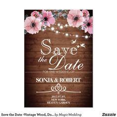 Save the Date -Vintage Wood, Doves,  Light, flower Card