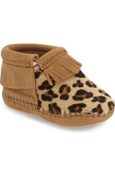 Adding a fierce vibe to any look with these darling leopard printed moccasins for the little one.