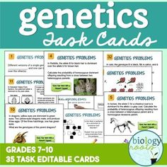 Genetics Task Cards: Genetics Task Cards is a set of 35 genetics task cards to cover your genetics unit.The cards are completely editable, as task cards are designed to be versatile. I personally use them as stations for review before a test. However, they could be used to reinforce a lesson, as a game, homework, or flashcards. Laminate them and have them ready to go for years to come.