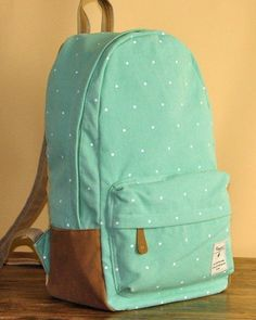 Mint Green Polka Dots Backpack - if you love polka dots like I do, you will love that's website.