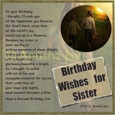 Happy Birthday Sister - Sister Birthday Quotes, Poems - Sincere & Funny Wishes to write in Sister's B'day Card