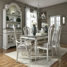 Shop the complete Magnolia Manor Collection by Liberty Furniture. Bring the refined charm of the French country to your dining experience with the Magnolia Manor Rectangular Table by Liberty Furniture. Dining Room Hutch, Dining Room Design, Dining Room Furniture, Shabby Chic Dining Room, Room Chairs, Farmhouse Dining Room Set, White Farmhouse, Bag Chairs, Farmhouse Furniture