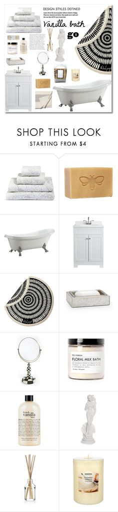 """Vanilla bath 💦"" by xeptum ❤ liked on Polyvore featuring interior, interiors, interior design, home, home decor, interior decorating, Vinnova, The Beach People, Labrazel and Fig+Yarrow"