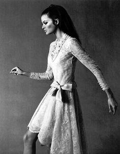 Editha Dussler in lace dress by Nina Ricci, Paris, 1967