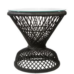 Peacock Rattan Side Table ($220) ❤ liked on Polyvore featuring home, furniture, tables, accent tables, rattan side table, rattan accent table, peacock table, rattan furniture and rattan table