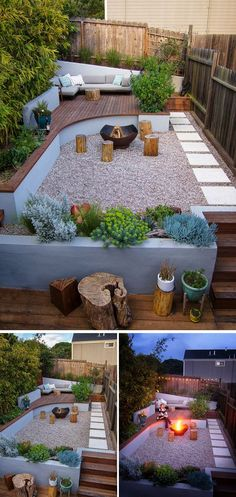 This modern landscaped backyard has a raised outdoor lounge deck, a wood burning firepit, succulents, bamboo and a vegetable garden.