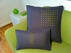 Gray Felt Pillow with Green Stripe in Squares