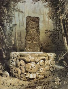 Idol and altar at Copan. William Parrott, from Views of ancient monuments in Central America, Chiapas and Yucatan by Frederick Catherwood, London, 1844 Ancient Aliens, Ancient Art, Altar, Aztec Temple, Maya Civilization, Honduras, Inka, Aztec Art, Ancient Civilizations
