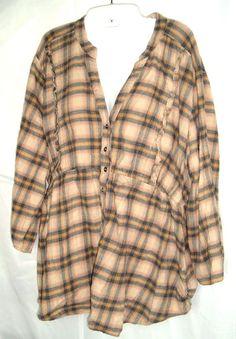 Torrid Womens Button Front Blouse Ruffle trim Brown Plaid Boho Plus Size 2 #Torrid #Blouse #Casual