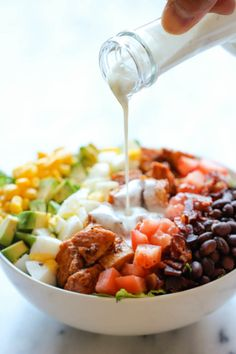 "BBQ Chicken Cobb Salad - ""Healthy, hearty, quick and easy with an incredibly creamy buttermilk ranch dressing that is absolutely to die for!"""