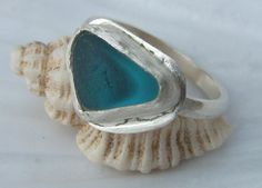 Handmade Sterling silver and sea glass ring - Bright Turquoise
